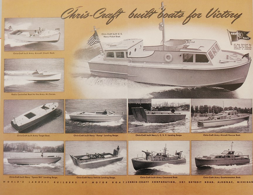 This image depicts the wide selection of military vessels that Chris-Craft sold during the WW2 era.